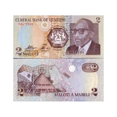 Billets de collection Billet de banque Lesotho Pk N° 9 - 2 Maloti Billets du Lesotho 5,00 €