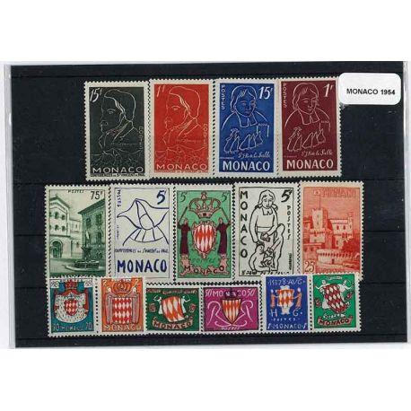 Timbre Monaco 1954 Année complète neuve