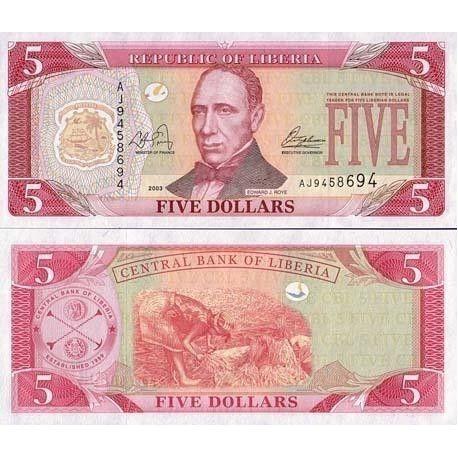 LIBERIA - Pk N° 26 - Billet de 5 Dollar