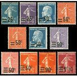 Serie francobolli di Francia N ° 217/228 Nuevo non linguellato