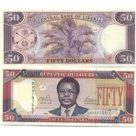 Billet de collection LIBERIA Pk N° 24 - 50 Dollar