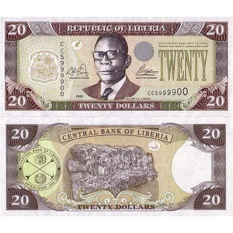 Billets de banque LIBERIA Pk N° 28 - 20 Dollar