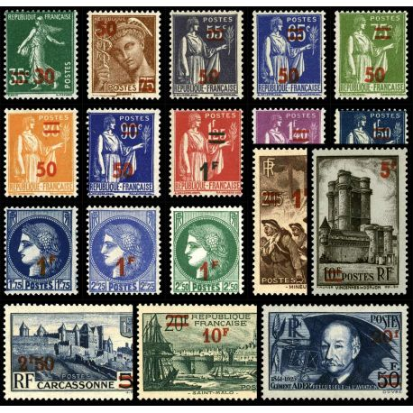 Frankreich: Nr. 476/493-neun ohne Scharnier.