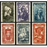 Serie francobolli di Francia N ° 593/598 Nuevo non linguellato