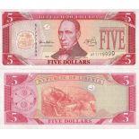 Billets collection LIBERIA Pk N° 21 - 5 Dollar