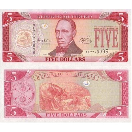LIBERIA - Pk N° 21 - Billet de 5 Dollar