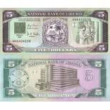 Collection of Banknote Liberia Pick number 20 - 5 Dollar