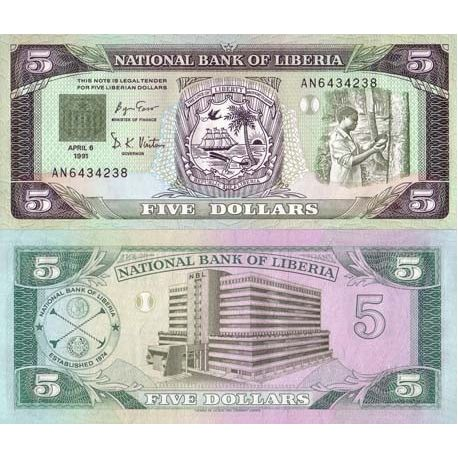 Billets de collection Billet de banque Liberia Pk N° 20 - 5 Dollar Billets du Liberia 9,00 €