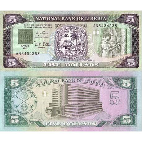 Liberia - Pk N° 20 - Billet de 5 Dollar