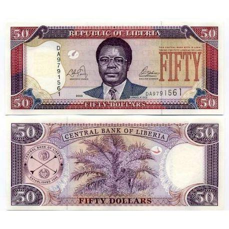 Billets banque LIBERIA Pk N° 29 - 50 Dollar
