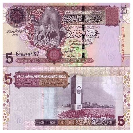 Billets collection Libye Pk N° 69 - 5 Dinar