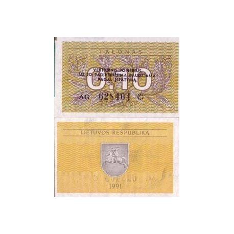 Billet de banque Lituanie Pk N° 29 - 0,1 Talonas