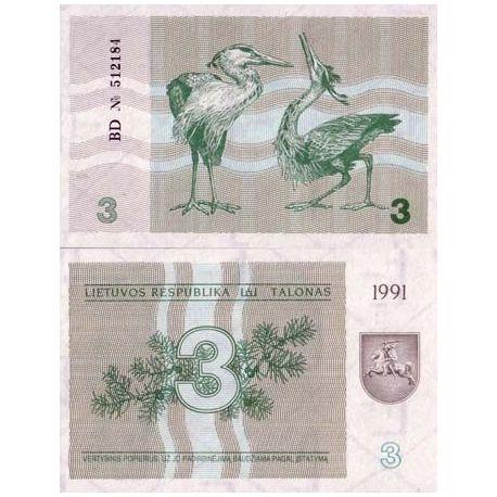 Billets de banque Lituanie Pk N° 33 - 3 Talonu
