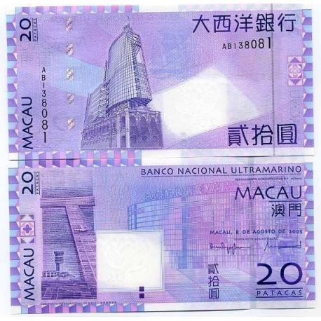 Billets de collection Billets banque Macao Pk N° 81 - 20 Patacas Billets de Macao 11,00 €