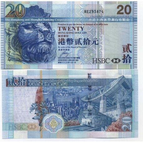 Billets de collection Billet de banque Hong-Kong Pk N° 207 - 20 Dollars Billets de Hong Kong 8,00 €