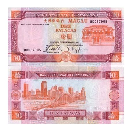 Billet de collection MACAO Pk N° 76 - 10 Patacas