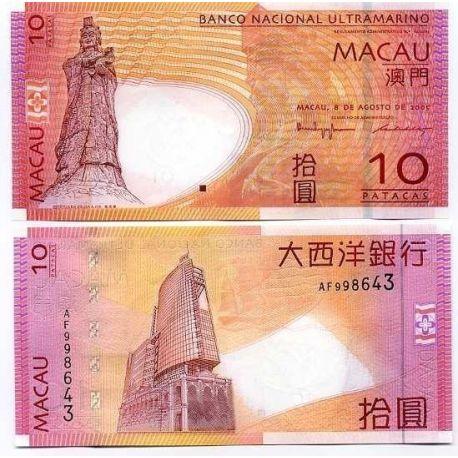Billets de collection Billets de banque Macao Pk N° 80 - 10 Patacas Billets de Macao 5,00 €
