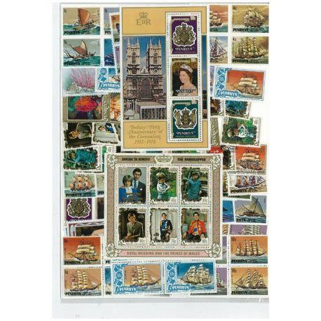 Collection de timbres Penrhyn oblitérés