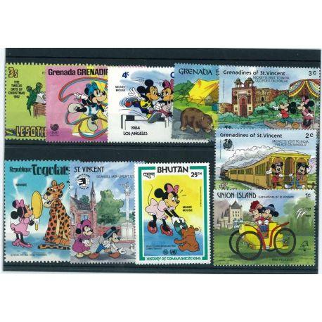 Collection de timbres Walt Disney Minnie oblitérés