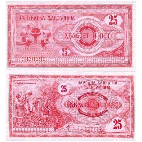 Billets de collection Billets collection Macedoine Pk N° 2 - 25 Denar Billets de Macedoine 2,00 €