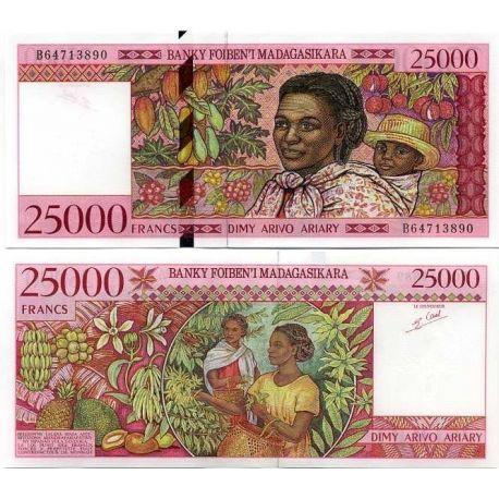 Billets de collection Billet de banque Madagascar Pk N° 82 - 25000 Francs Billets de Madagascar 50,00 €