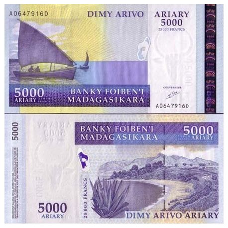 Billets de collection Billets de banque MADAGASCAR Pk N° 84 - 5000 ARYARY Billets de Madagascar 24,00 €