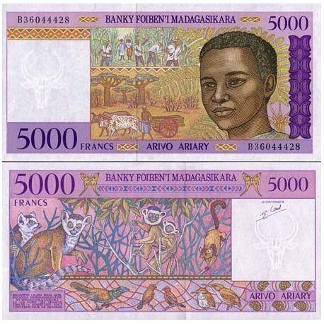 Billets de collection Billets de banque Madagascar Pk N° 78 - 5000 Francs Billets de Madagascar 11,00 €
