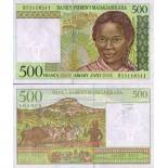 Collection of Banknote Madagascar Pick number 75 - 500 FRANC