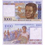 Precioso de billetes Madagascar Pick número 76 - 1000 FRANC