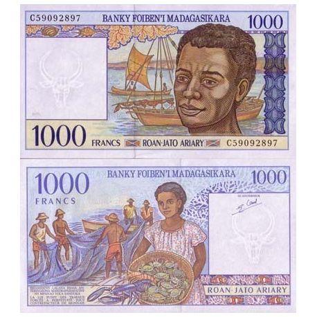 Billets de collection Billets banque Madagascar Pk N° 76 - 1000 Francs Billets de Madagascar 6,00 €