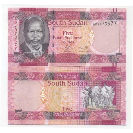 Billets de collection Billets de banque Soudan du Sud Pk N° 6 - 5 Pounds Billets du Sud-Soudan 6,00 €