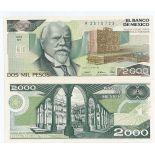 Los billetes de banco México Pick número 82 - 2000 Peso