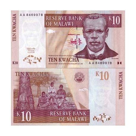 Billets de banque Malawi Pk N° 37 - 10 Kwacha