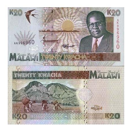 Billets banque Malawi Pk N° 32 - 20 Kwacha