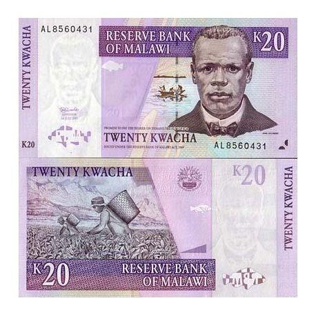 Billet de collection Malawi Pk N° 38 - 20 Kwacha