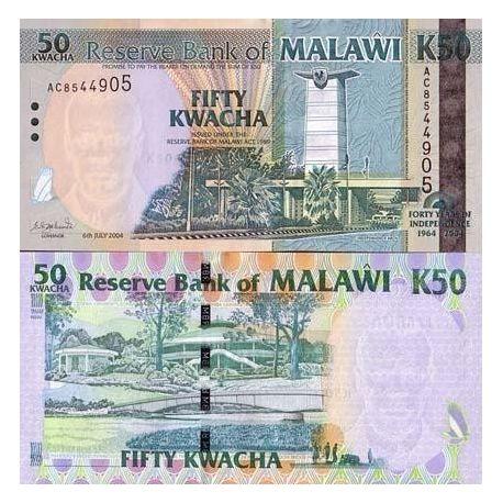 Billet de banque Malawi Pk N° 49 - 50 Kwacha