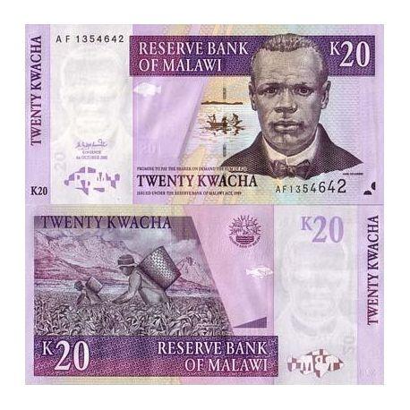 Billet de banque Malawi Pk N° 44 - 20 Kwacha