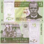 Bello banconote Malawi Pick numero 36 - 5 Kwacha