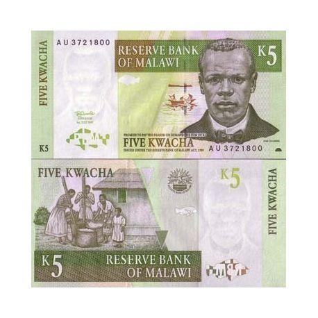 Malawi - Pk N° 36 - Billet de 5 Kwacha