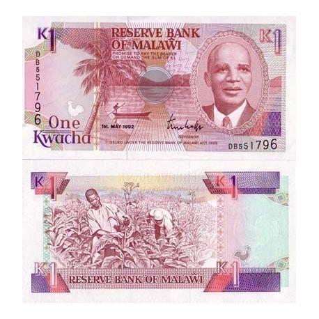 Malawi - Pk N° 23 - Billet de 1 Kwacha