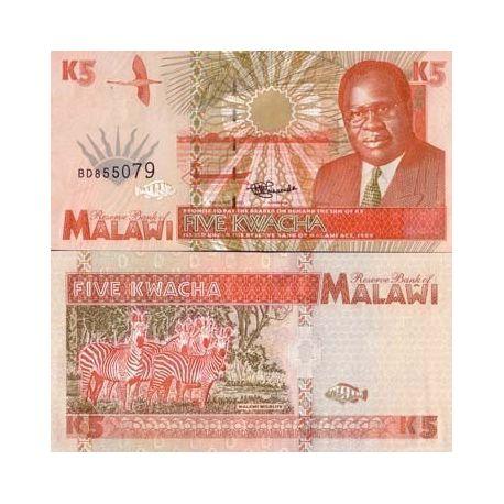 Billets collection Malawi Pk N° 30 - 5 Kwacha