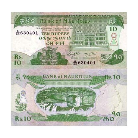 Maurice - Pk N° 35 - Billet de 10 Ruppees