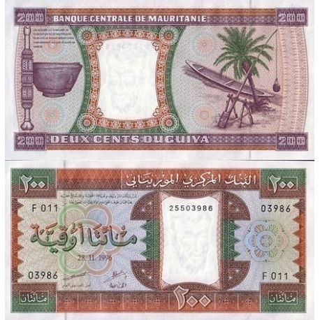 Billets de collection Billet de banque Mauritanie Pk N° 5 - 200 Quguiya Billets de Mauritanie 10,00 €