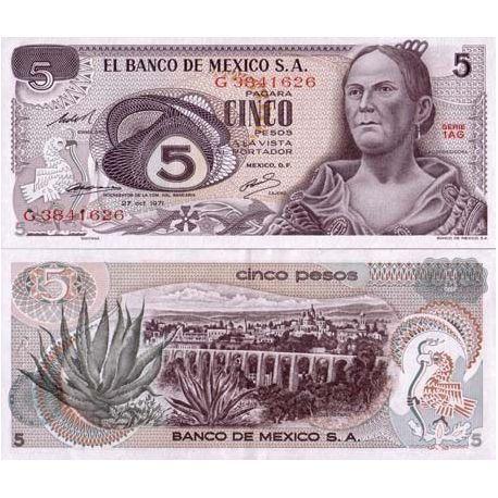 Mexique - Pk N° 62 - Billet de 5 Pesos