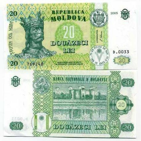 Billets de banque Moldavie Pk N° 13 - 20 LEI