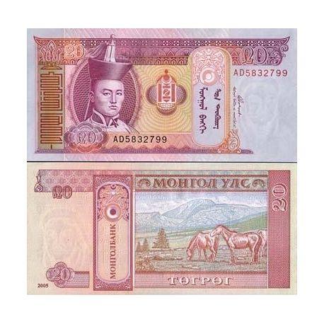 Billets de collection Billet de collection MONGOLIE Pk N° 63 - 20 Tugrik Billets de Mongolie 1,00 €