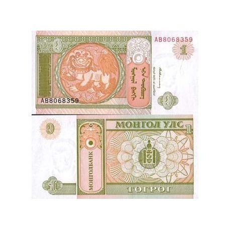 Billets de collection Billet de banque Mongolie Pk N° 52 - 1 Tugrik Billets de Mongolie 1,00 €