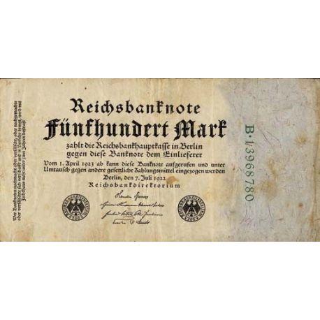Billet de banque Allemagne Pk N° 74 - 500 Mark