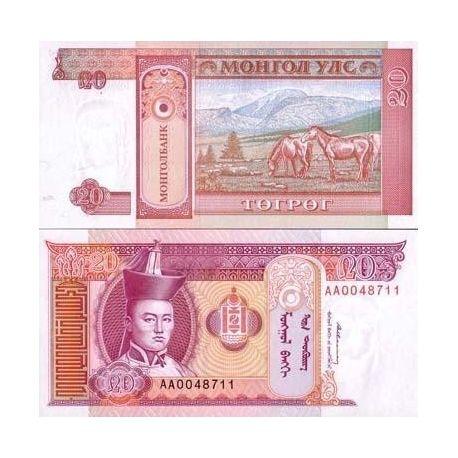 Billets de collection Billets banque Mongolie Pk N° 55 - 20 Tugrik Billets de Mongolie 1,00 €