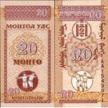 Billets collection Mongolie Pk N° 50 - 20 Mongo